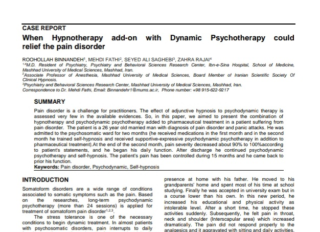 When Hypnotherapy add-on with Dynamic Psychotherapy could relief the pain disorder