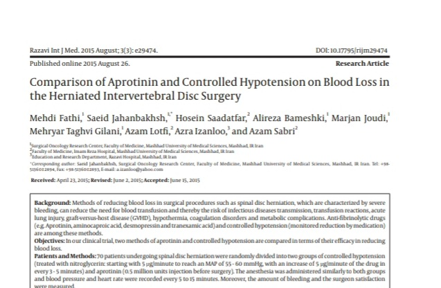 Comparison of Aprotinin and Controlled Hypotension